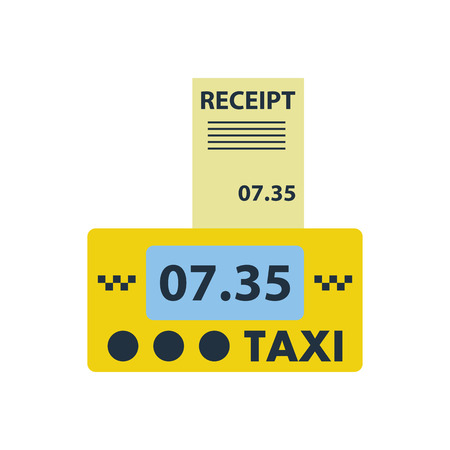 Taxi meter with receipt icon. Flat color design. Vector illustration. Иллюстрация