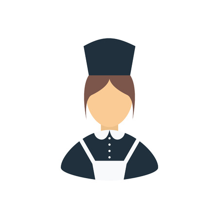 Hotel maid icon. Flat color design. Vector illustration.