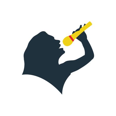Karaoke womans silhouette icon. Flat color design. Vector illustration.