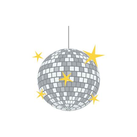 Night clubs disco sphere icon. Flat color design. Vector illustration.