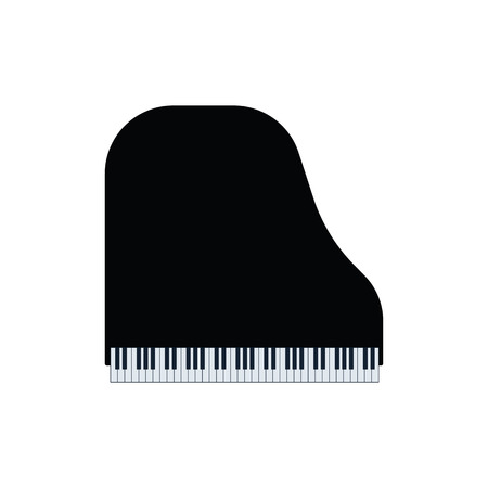 Grand piano icon. Flat color design. Vector illustration. Ilustração