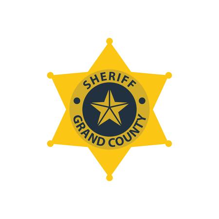 Sheriff badge icon. Flat color design. Vector illustration.