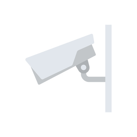 Security camera icon. Flat color design. Vector illustration.