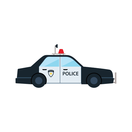 Police car icon. Flat color design. Vector illustration.