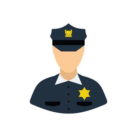 Policeman icon. Flat color design. Vector illustration.