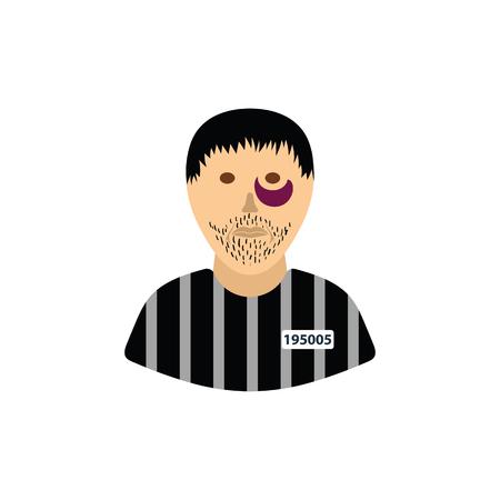 Prisoner icon. Flat color design. Vector illustration. Standard-Bild - 124691413