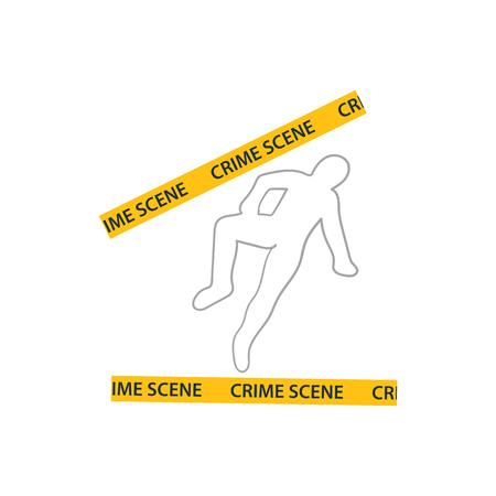 Crime scene icon. Flat color design. Vector illustration.