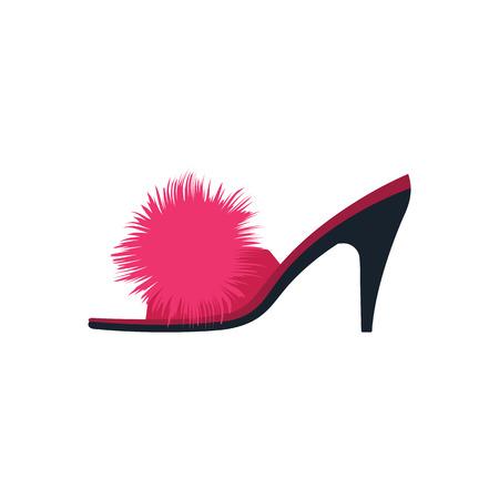 Woman pom-pom shoe icon. Flat color design. Vector illustration.