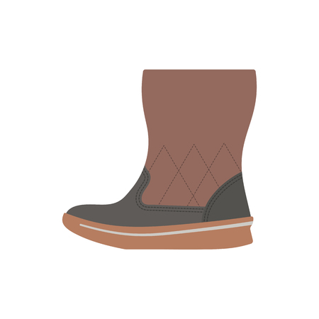 Woman fluffy boot icon. Flat color design. Vector illustration.