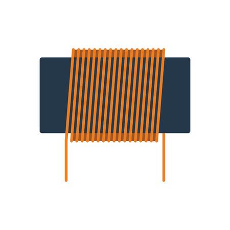 Induktorspulensymbol. Flaches Farbdesign. Vektor-Illustration.
