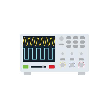 Oscilloscope icon. Flat color design. Vector illustration.