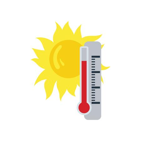 Summer heat icon. Flat color design. Vector illustration.