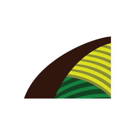 Agriculture field icon. Flat color design. Vector illustration.  イラスト・ベクター素材