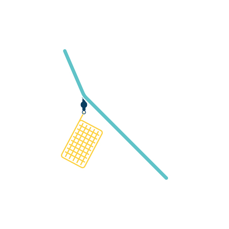 Icon of  fishing feeder net. Flat color design. Vector illustration.