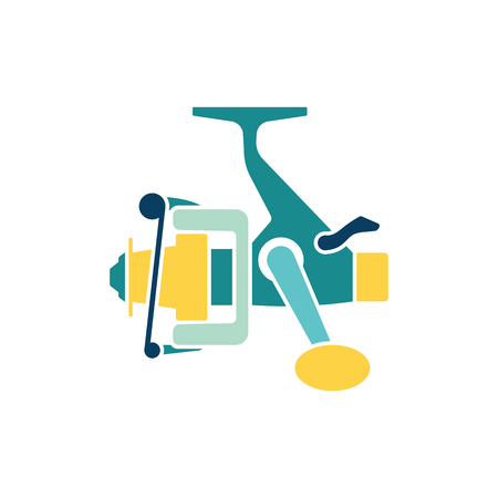 Icon of Fishing reel . Flat color design. Vector illustration.