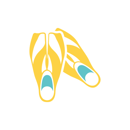 Icon of swimming flippers . Flat color design. Vector illustration. Illustration