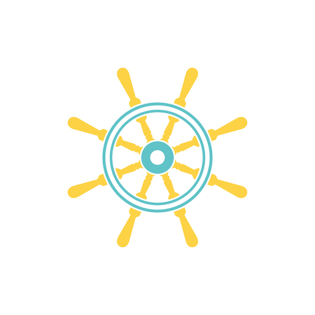 Icon of  steering wheel . Flat color design. Vector illustration. 向量圖像