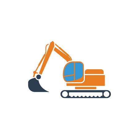 Icon of construction bulldozer. Flat design. Vector illustration.