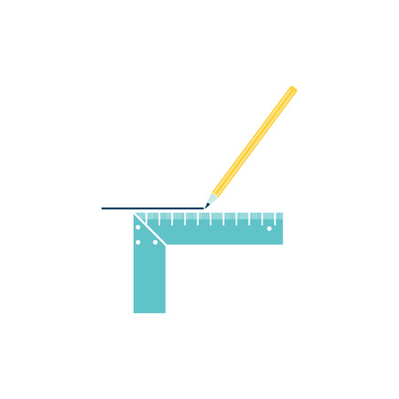 Pencil line with scale icon. Flat color design. Vector illustration.
