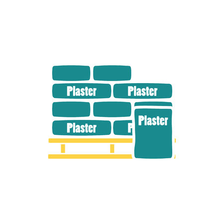 Palette with plaster bags icon. Flat color design. Vector illustration. Stock Vector - 124504115