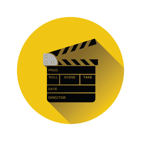 Movie clap board icon on gray background, round shadow. Vector illustration.