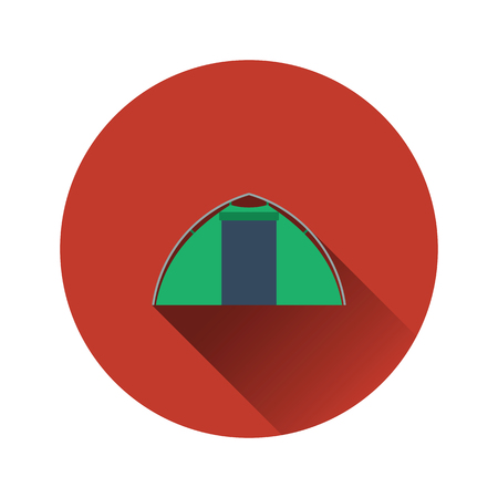 Flat design icon of touristic tent in ui colors. Vector illustration.