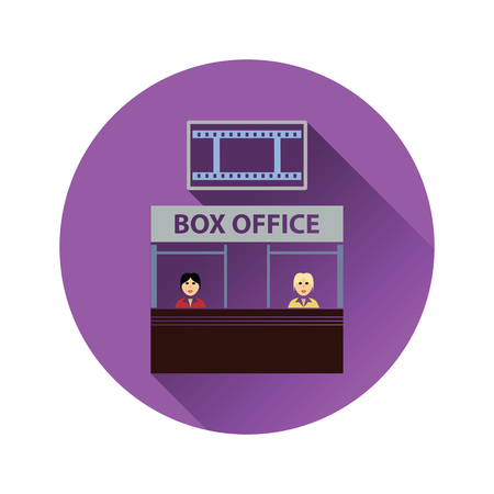 Box office icon on gray background, round shadow. Vector illustration.