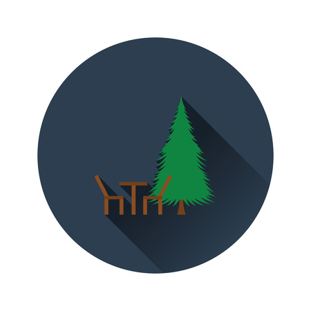 Flat design icon of park seat and pine tree  in ui colors. Vector illustration. Ilustração