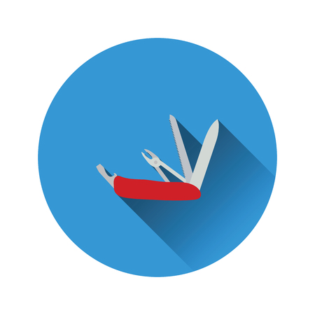 Flat design icon of folding penknife in ui colors. Vector illustration.