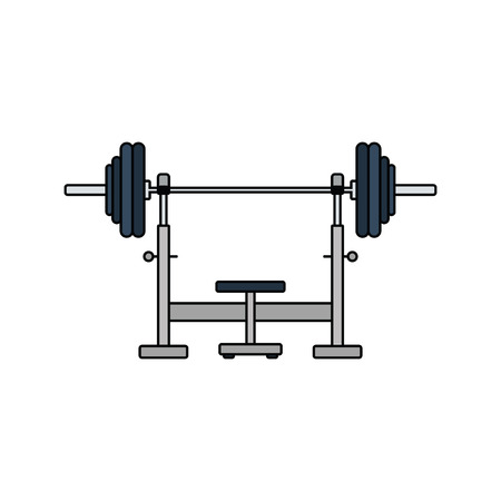 Flat design icon of Bench with barbell in ui colors. Vector illustration.