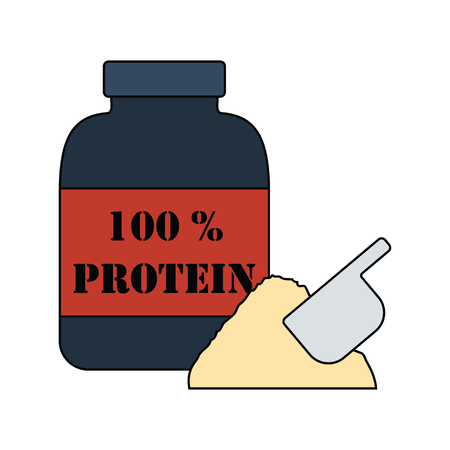 Flat design icon of Protein conteiner in ui colors. Vector illustration. Illustration