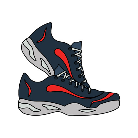 Flat design icon of Fitness sneakers in ui colors. Vector illustration. Illustration