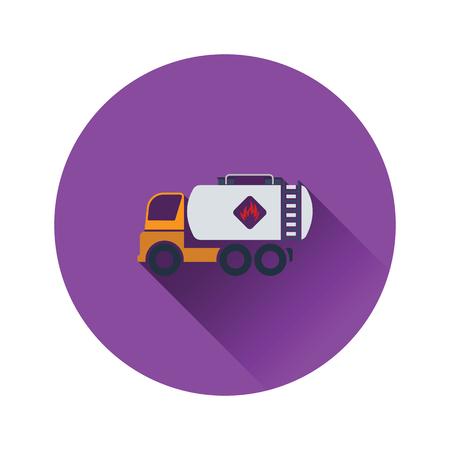 Fuel tank truck icon. Flat color design. Vector illustration.