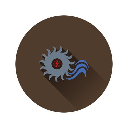 Water turbine icon. Flat color design. Vector illustration.