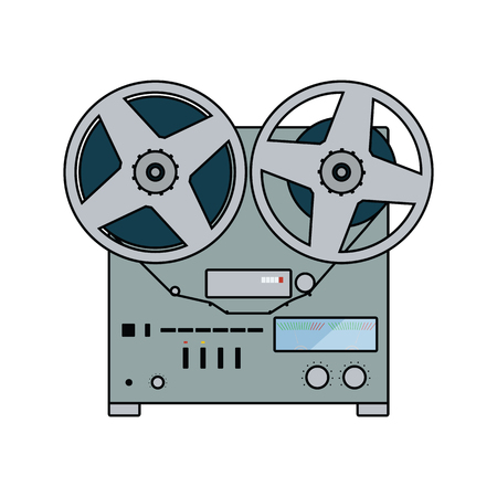 Reel tape recorder icon. Flat color design. Vector illustration.