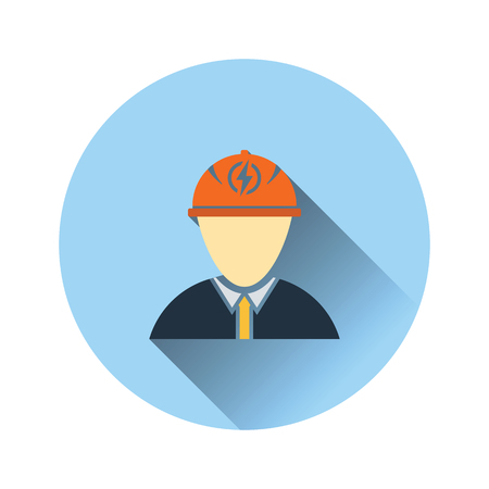 Electric engineer icon. Flat color design. Vector illustration. Vectores