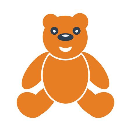 Teddy bear icon. Flat color design. Vector illustration.