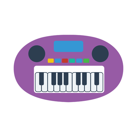 Synthesizer toy icon. Flat color design. Vector illustration. 向量圖像
