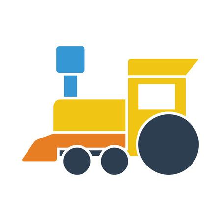 Train toy icon. Flat color design. Vector illustration. Vector Illustration