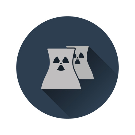 Nuclear station icon. Flat color design. Vector illustration.