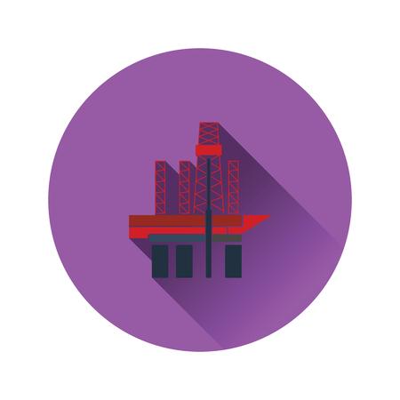 Oil sea platform icon. Flat color design. Vector illustration.