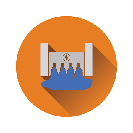 Hydro power station icon. Flat color design. Vector illustration.