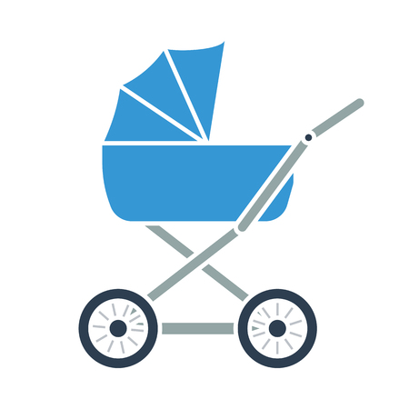Pram icon. Flat color design. Vector illustration.