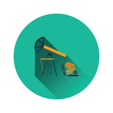 Oil pump icon. Flat color design. Vector illustration.