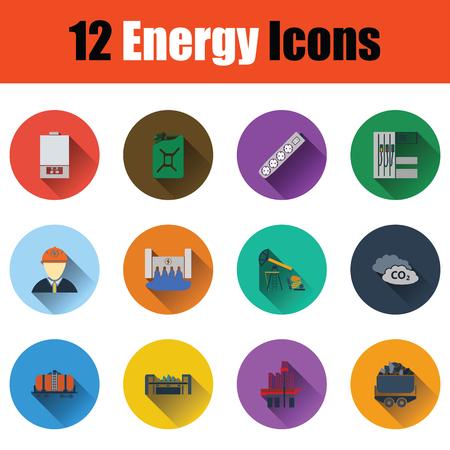Energy icon set. Stencil color design. Vector illustration.