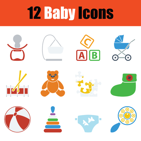 Set of baby icons. Stencil color design. Vector illustration. Illustration