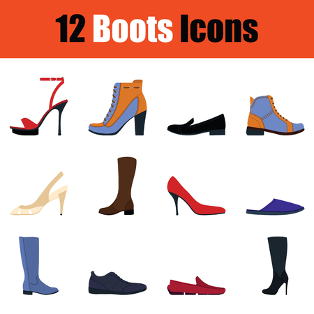 Set of footwear icons. Full color design. Vector illustration. Ilustração