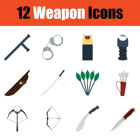Set of weapon icons. Full color design. Vector illustration.