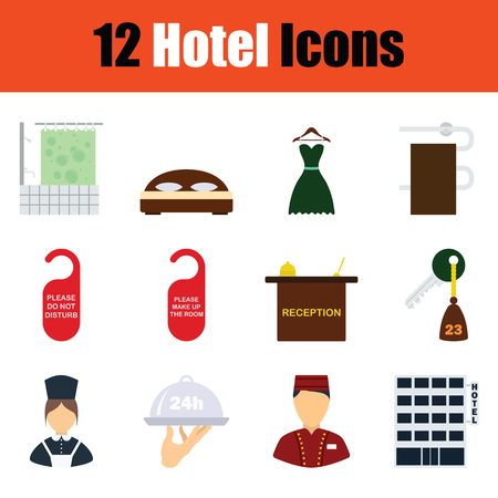 Set of hotel icons. Full color design. Vector illustration.