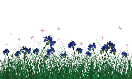 Meadow with butterflies. All objects are separated. Vector illustration.